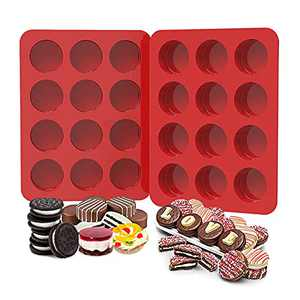 2 inch Chocolate Covered Oreo Molds Silicone - Set of 2 - 24 Cup SILIVO Chocolate Cookie Molds for Baking, Round Silicone Molds for Sandwich Cookie,Muffin,Cupcake,Pudding,Chocolate Coated Oreos