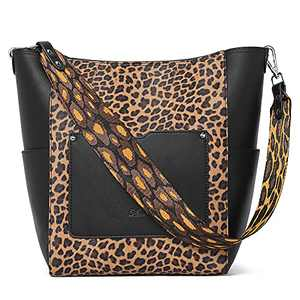 CLUCI Purses and Handbags for women Leather Designer Tote Large Ladies Work Shoulder Bucket Bag Leopard Print with Black