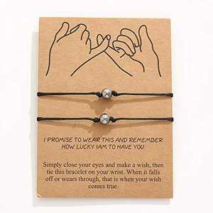Pinky Promise Bracelet Set Long Distance Matching Friendship Handmade BFF Bracelet for Best Friends Couple Family Women Mens Teen Girls Sisters Lovers (Round ball)