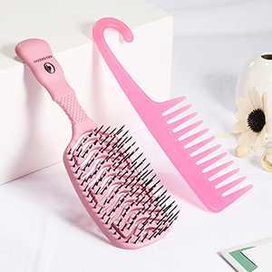 O BRUSHZOO Detangling Brush, hair brushes for Women Men and Kids, Vented Detangler Brush for Curly Wet Dry Hair, Hair Brush Set of Paddle Brush Wide Teeth Comb for Detangling Drying (Pink)