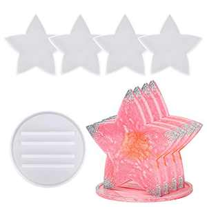 5 Pack Coaster Molds for Resin Casting,Tufusiur 4 Pack Star Rsin Coaster molds with 1 Pack Stand Storage Epoxy Resin Molds Silicone,Great for Making Coasters, DIY Resin Artwork,Home Decor