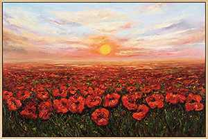 Mignombre Framed Canvas Wall Art for Living Room Bedroom - Oil Painting Art Reproduction Natural Landscape Sunset and Red Flowers - HD Color Prints Paintings Artwork for Modern/Rustic Home Office Decorations Ready to Hanging (16'' x 24'' , K013)