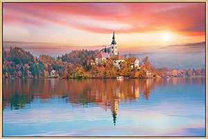 Mignombre Large Framed Canvas Wall Art for Living Room Bedroom - Natural Landscape Photographic Works of Northern Europe Autumn Lake Forest in the Sunset - HD Color Prints Paintings Artwork for Modern/Rustic Home Office Decorations Ready to Hanging (24'' x 36'' , K019)