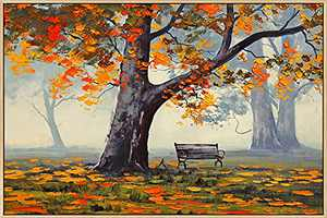 Mignombre Framed Canvas Wall Art for Living Room Bedroom - Oil Painting Art Reproduction Wall Decor of Quiet Park in Autumn - HD Color Prints Paintings Artwork for Modern/Rustic Home Office Decorations Ready to Hanging (16'' x 24'' , K023)