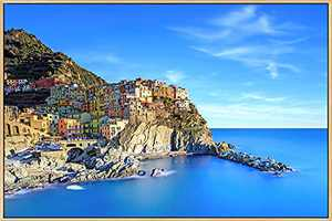 Mignombre Framed Canvas Wall Art for Living Room Bedroom - Mediterranean Island Landscape Photographic Works of Italy Cinque Terre - HD Color Prints Paintings Artwork for Modern/Rustic Home Office Decorations Ready to Hanging (16'' x 24'' , K018)