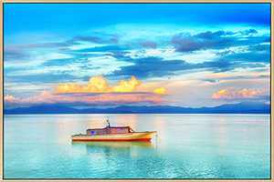 Mignombre Framed Canvas Wall Art for Living Room Bedroom - Natural Scenery Wall Decor of Sunset Ocean Boat - HD Color Prints Paintings Artwork for Modern/Rustic Home Office Decorations Ready to Hanging (16'' x 24'' , K017)
