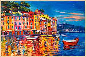 Mignombre Large Framed Canvas Wall Art for Living Room Bedroom - Oil Painting Art Reproduction Europe Style Decor of Fishing Village Landscape - HD Color Prints Paintings Artwork for Modern/Rustic Home Office Decorations Ready to Hanging (24'' x 36'' , K014)