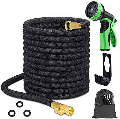 100 ft Garden Hose Expandable Water Hose, Flex Water Hose 100ft with 10 Function Zinc Nozzle, Solid Brass Fittings, Extra Strength Fabric 3750D, Lightweight Flexible Yard Hose for Watering