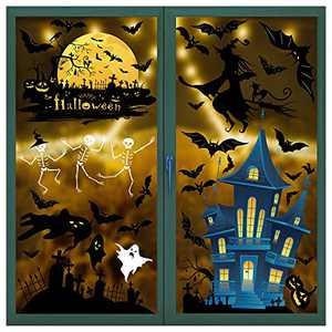 Viseeko Halloween Window clings 4 Sheets Double-Side Skeleton Ghosts Bats Spooky Pumpkin Witch Removable Window Decals Sticker for Halloween Party Decoration
