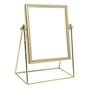 Makeup Mirror Single Sided Cosmetic Mirror Rectangle Beauty Mirror Handmade Make Up Mirror for Dresser Vanity Table Desk - Gold