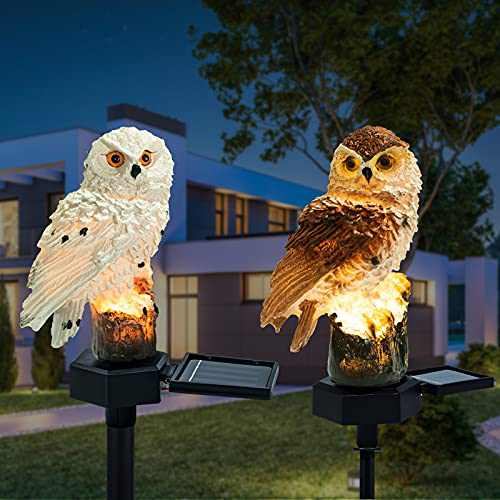 Solar Lights Outdoor Garden Ornaments 2pices Animals Resin Owls Solar led Lights Outdoor Garden Stake Waterproof Lighting for Flower Fence, Lawn, Patio, Walkway, Summer Party, Halloween Gifts