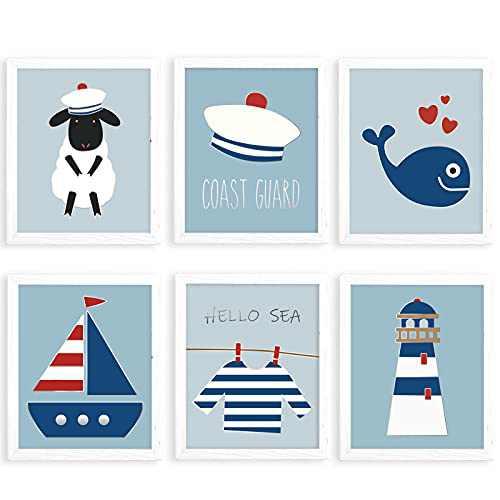 Nursery Wall Decor, Baby Room Decor, Baby Nursery Decor, Hello Sea Nursery Decor for Boys, Coast Guard Baby Wall Decor, Nursery Wall Art, Ocean Whale Lighthouse Sailing, Set of 6 Unframed Prints, 8x10