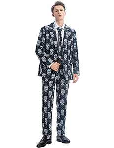 ACH Halloween Suit for Men Party Skull Costume Adult in Different Prints 3PCS Ugly Funny Men's Holiday Jacket Outfit Cosplay with Tie Pants Set 2XL