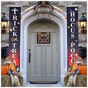 Halloween Decorations Halloween Door Banners Porch Door Couplet Banner Portable Hanging 300D Oxford Cloth Outdoor Party Decor
