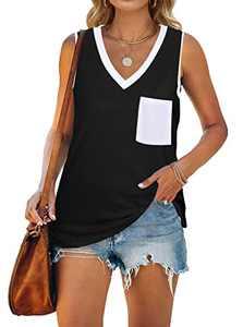MYHALF Women V Neck Tank Top with Pocket Color Block Tunic Tee Summer Loose Sleeveless Shirt