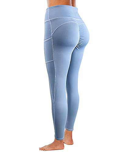 Yaavii Women's Yoga Pants with Pockets High Waist Tummy Control Soft Slimming Booty Leggings Workout Running Blue