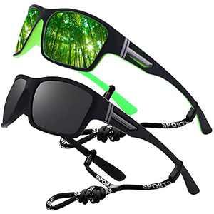 Sports Sunglasses Polarized Men Driving Cycling Fishing Running Sun Glasses UV400 Goggles Glasses rope (2pack (black/green-blue))
