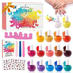 Kids Nail Polish Set for Girls, Eleanore's Diary 16X 5ml Non-Toxic Tearable Safe Quick Dry Nail Polish, Nail Files, Toe Separators, Nail Stickers, Halloween Christmas Gifts Toys Kit for 3+ Kids
