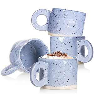 Coffee Mug,Ceramic Coffee Mugs CREATIVELAND 10 oz Stoneware Handmade Coffee Cups with Handle for Latte, Espresso,Cappuccino,Hot chocolate,Milk Mugs Set Dishwasher Microwave Safe (Purple)