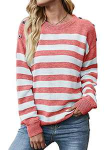 KIRUNDO Women's Casual Long Sleeves Crew Neck Striped Print Knit Sweater Loose Comfy Pullover Tops Deco with Button (Pink, Large)