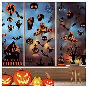 98 PCS Halloween Window Stickers Glass Decals for Party Decorations, Pumpkin Spider Bat Ghost Witch Window Décor, Halloween Party Decoration Home Interior Window Decoration Set