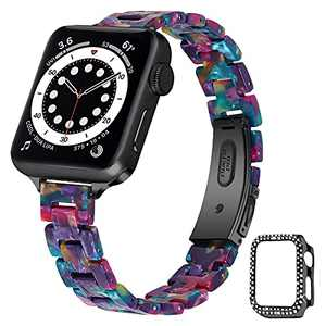 HAYUL Slim Resin Band Compatible with Apple Watch 38mm 40mm 42mm 44mm, Thin Wristband Replacement for iWatch SE Series 7/6/5/4/3/2/1 for Women Girls, with Protector Case (Purple Green Flower, 42mm)