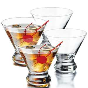Martini Glasses Set of 4, YAWALL 8.5 Oz Stemless Cocktail Glasses for Martini, Margarita & More, Lead-free Crystal Heavy Base Dessert Glassware Home Bar Use, Housewarming Party Gifts