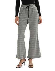 Women Tartan Pants High Waist Wide Leg Elastic Bootcut Pants Pockets Plaid L