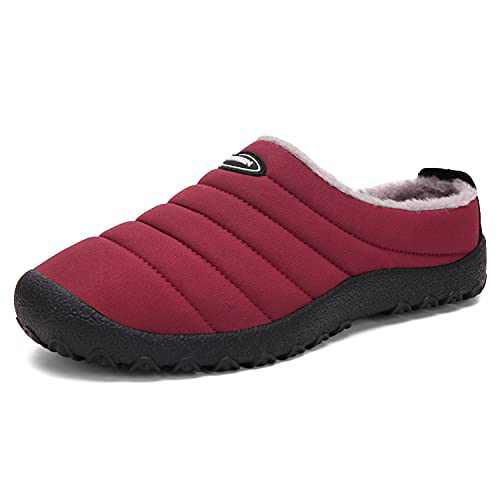 KUBUA Mens Slippers Warm Winter Flats Shoes for Womens Indoor House Slip on with Cotton Outdoor Red