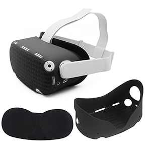 VR Shell Silicone Face Protector Cover Dust Proof Washable Compatible for Oculus Quest 2 (Black)