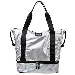 Travel Duffel Bags Carry On Overnight Weekender Bag Gym Yoga Sport Waterproof Handbag Large Capacity With Shoes Compartment(Silver)