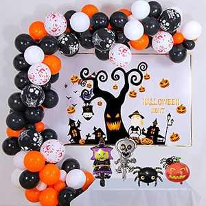 Halloween Balloon Garland Arch kit, Halloween Garland Decorations, Halloween Balloons Garland Kit 100Pcs Horror Classic Witch Spider Orange Pumkin Spider Aluminum Party Decor Supplies Set