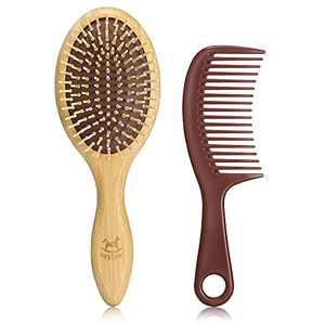 BESTOOL Hair Brushes for Women Men Kid, Bamboo Detangling Brush & Wide Teeth Comb for Thick Fine Curly Hair, Everyday Hairbrush, Enhance Shine, Massage Scalp, Anti-static