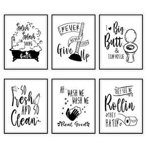 Funny Bathroom Decor Wall Art,Funny Bathroom Wall Signs Quotes and Saying Art Prints,Black and White Pictures for Bathroom or Restroom Wall Decoration Wall Art (Set of 6 Unframed 8X10)
