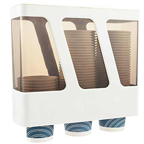 3 Tubes Water Cooler Cup Dispenser, Wall Mounted Water Cup Dispenser Plastic Pull Type Cup Dispenser Fit Max 6.5 OZ Cone or Flat Bottom Disposable Cups for Office, Home, Dormitory Water Cooler