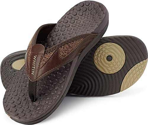 WHITIN Men's Flip Flops Thong Sandals with Arch Support Outdoor Waterproof Size 7.5 Slip Resistant Hiking Climbing Sandles for Male Indoor Sport Slides Summer Beach Slipper Dark Brown 40