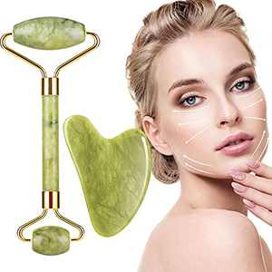 Jade Roller & Gua Sha Set for Face, Face Roller Skin Care Tools,Gua Sha Massage Tool for Face, Eyes, Neck and Whole Body Muscle Relaxing - Natural Green Jade