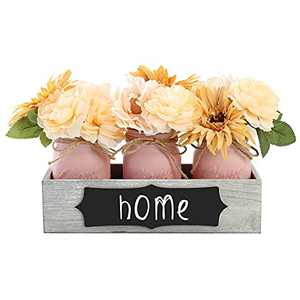 Mason Jar Centerpiece table decorations for living room-Farmhouse Home Decor Rustic dining Room Decor with Flowers and Jar as Shabby Chic Table Decor Gifts(3 Pink Jar)