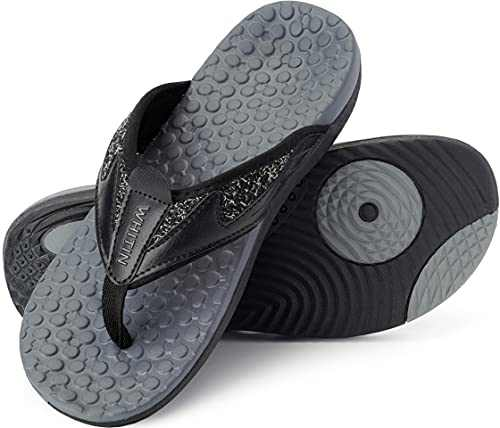 WHITIN Men's Flip Flops Thong Sandals with Arch Support Outdoor Waterproof Size 11 Comfortable Slip Resistant Hiking Climbing Sandles for Male Indoor Sport Slides Summer Beach Slipper Black 44