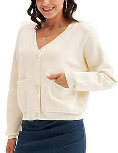Women's Classic Fit Lightweight V-Neck Solid Color Knit Boho Boyfriend Coat 2XL