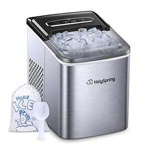 HolySpring Ice Maker Machine Countertop, Portable Ice Makers with Ice Bags and Standing Ice Scoop Basket, Countertop Ice Maker 2.1L w/Self Cleaning, 9 Bullet Cubes Ready in 5-7Mins, 26.5lbs in 24 hrs