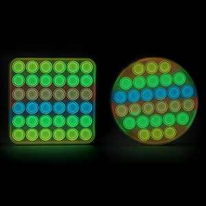 Coco Emporium 2 Pack Glow in The Dark Push Pop with Hard Plastic Shells, Light up Halloween Sensory Toy, Luminous Rainbow Fidget Toys, Fluorescent Glow in The Dark Fidgets for Kids