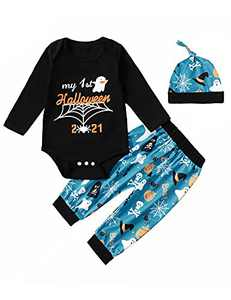 Aslaylme Baby Boy Halloween Outfit Newborn Halloween Outfit 1st Halloween Clothes (Blue,0-3 Months)