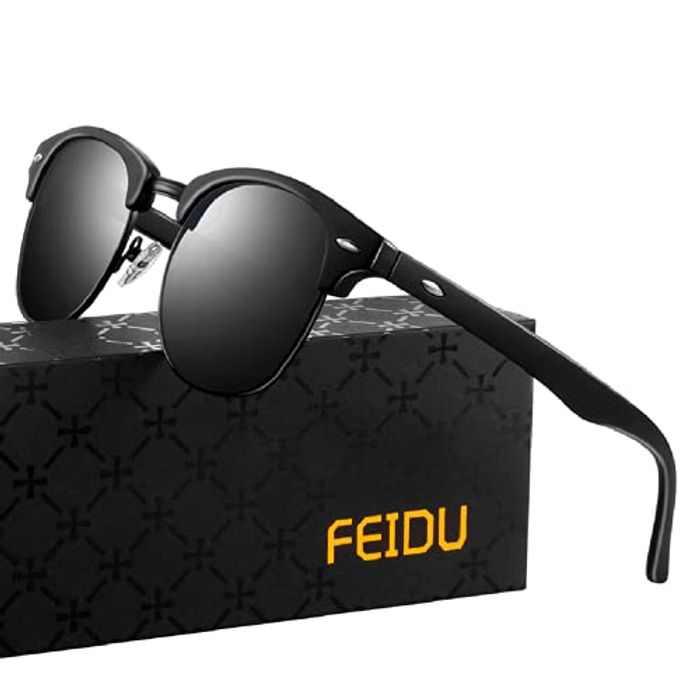 FEIDU Mens Sunglasses Polarised - Retro Half Frame Sunglasses Man Polarised Sunglasses Womens ,Ultra-light Metal Frame,UV400 Protection FD3031