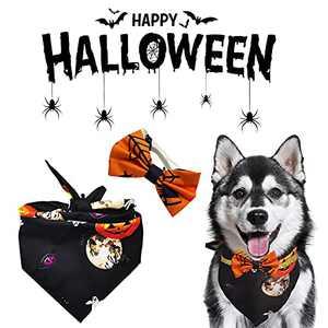 ALMDA Dog Halloween Costumes Bandanas and Collar Set, Triangle Pet Scarfs Washable Pet Neckerchief Dog Bibs, Pumpkin, Skull, Bat, Ghost Print Design, Halloween Supplies Accessories for Pets (Black)