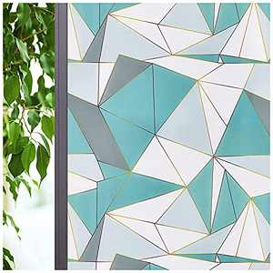 Coavas Privacy Window Film Decorative Non Adhesive Static Modern Geometric Frosted Window Clings Removable Stickers for Front Door Bathroom Glass Door 11.8-inch by 78.7-inch,Green