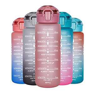 Allfourior 32oz Water Bottles with Times to Drink – Water Bottle with Time Marker & Removable Strainer Water Tracker Bottle BPA Free & Leak proof for Sports, Outdoors and Office