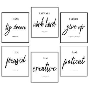 Inspirational Wall Art Motivational Wall Art Decoration Office Wall Decor, Wall Art Decor for Bedroom Living Room,Positive Quotes & Sayings Posters (Set of 6, 20X25cm, Unframed)