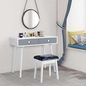 Vanity Table Set Wooden Makeup Dressing Table with Two Drawers Vanity Desk with Stool Writing Desk for Bedroom (Grey&White 02)
