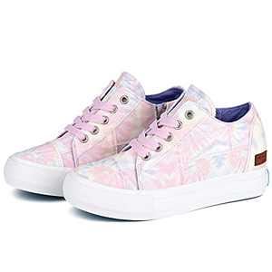 JENN ARDOR Women Hidden Platform Sneakers Classic Lace Up Cavans Wedge Shoes Comfortable Causal Booties